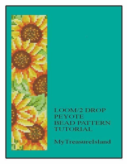 Floral Sunflowers Beaded Bracelet Loom or 2 Drop Peyote Pattern PDF
