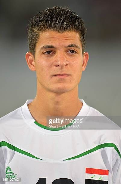 Yasir Ammar of Iraq looks on during the FIFA U17 World Cup group F match between Iraq and Sweden at Khalifa Bin Zayed Stadium on October 19 2013 in...