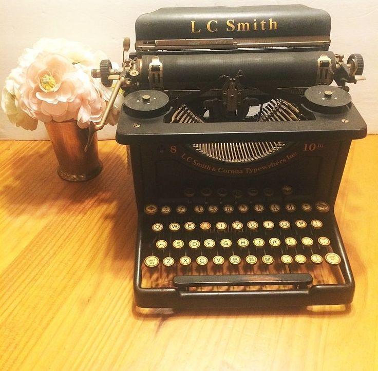 1918 LC Smith Corona Typewriter 8 to 10 Inch Carriage Cast Iron Black VTG #SmithCorona