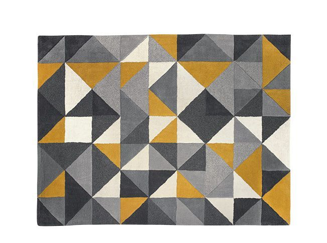 Henrik Hand Tufted Wool Rug 120 x 180cm, Yellow and Grey