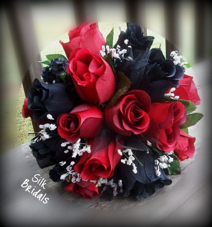 Wedding Bouquets Red And Black : Red black roses bridal bouquet bridesmaid silk wedding