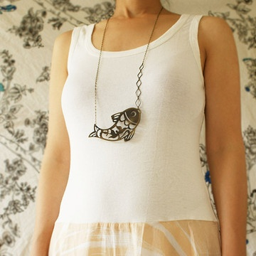 Fish Necklace Long, 28€, now featured on Fab.