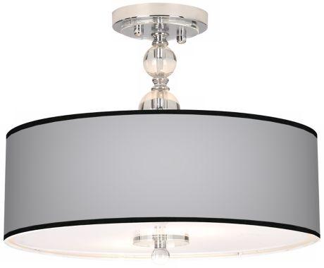 All Silver Chrome 16-Inch-W Semi-Flush Ceiling Light - #EUN7956-P9881 - Euro Style Lighting