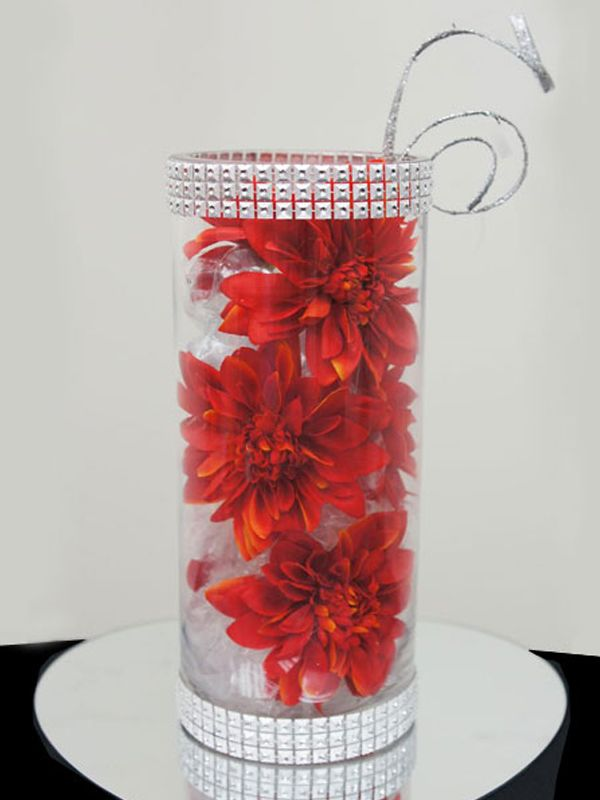 "Tall Glass Cylinder Centerpieces | 12"" Cylinder Glass Centerpiece Vase - 6/Set 