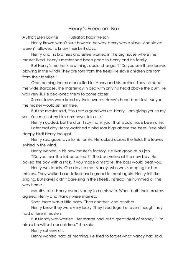 Henrys Freedom Box Text Full By Caroline Liu Via Slideshare