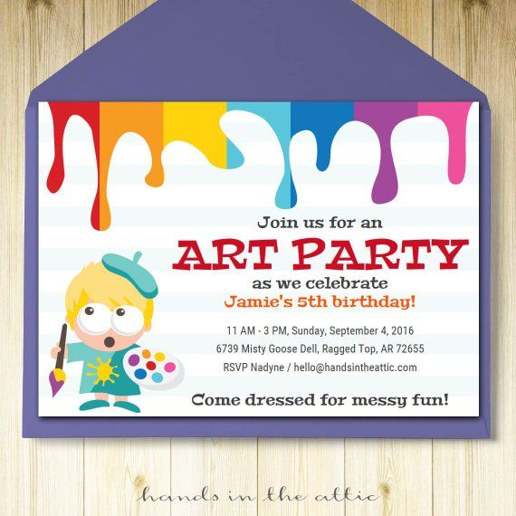 Art Party Invitation Card Template Printable Kids Painting Etsy Birthday Invitation Card Template Birthday Invitations Kids Art Party Invitations
