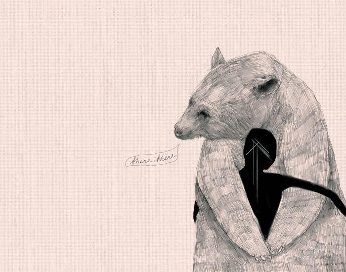 there there: Bearhug, Art Inspiration, Bear Art, Illustration, Bear Hugs, Artful Bears, Art Illustration, Drawing