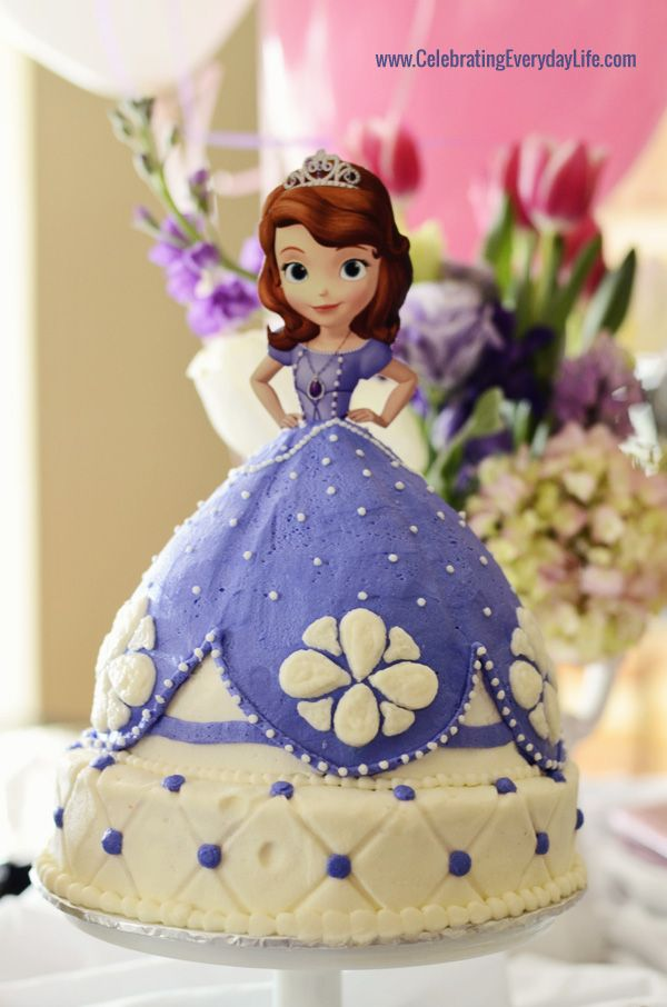 Here's the amazing cake from the Sofia the first birthday party, 3rd birthday party, Celebrating Everyday Life with Jennifer Carroll