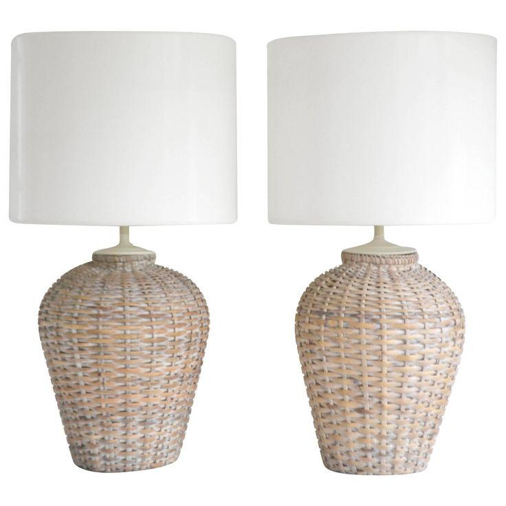 167 best lighting images on pinterest light fixtures lamps and pair of mid century woven rattan basket form table lamps from a unique collection aloadofball Images