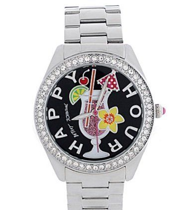 "CLICK HERE ---> http://agapejewelrybox.com/shop/betsey-johnson/betsey-johnson-watch-bj00048-53-silver-tone-happy-hour-boyfriend-watch/ <---Betsey Johnson Watch, BJ00048-53 Silver-Tone Happy Hour Boyfriend Watch. Fashion that is fun: a ""Happy Hour"" watch from Betsey Johnson. Silver-tone stainless steel bracelet, round case, 40mm, bezel set in crystal accents."