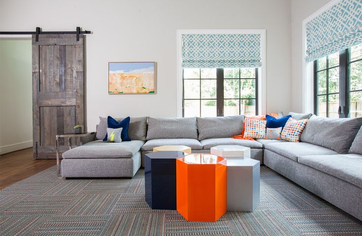"""Game/Family Room - Like the clean lines of this entire house """"Eclectic Down-Home Style in Texas"""" (Spanish Colonial architecture; homeowner dubbed style is """"Southern Americana."""") Transitional Family Room by Laura U, Inc."""