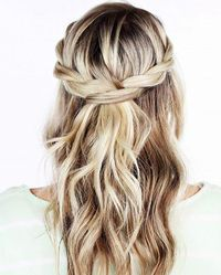 A breathtaking hairstyle that requires zero braiding? Yup, it's possible. Get the look at home by following the step-by-step below 1. Gather two small sections of hair near one side of your part, and twist the front piece of hair over the one behind it. 2. Add a new section of hair to the front piece, as well as a new section of hair to the back piece. 3. Twist the sections as you did before with the front piece going over the back piece. 4. Continue twisting this way, adding new sect...