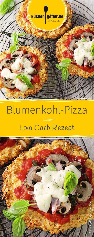 Eine echte Alternative zur herkömmlichen italienischen Pizza: Unsere Low Carb Pizza aus Blumenkohl, belegt mit Pilzen.