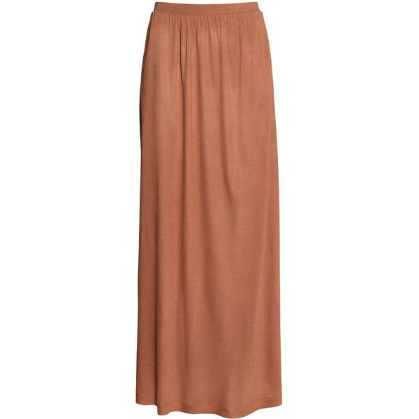 H&M Maxi skirt (9.82 CAD) ❤ liked on Polyvore featuring skirts, bottoms, maxi skirts, h&m, cognac brown, long circle skirt, circle skirt, long skater skirt, brown skirt and long ankle length skirts