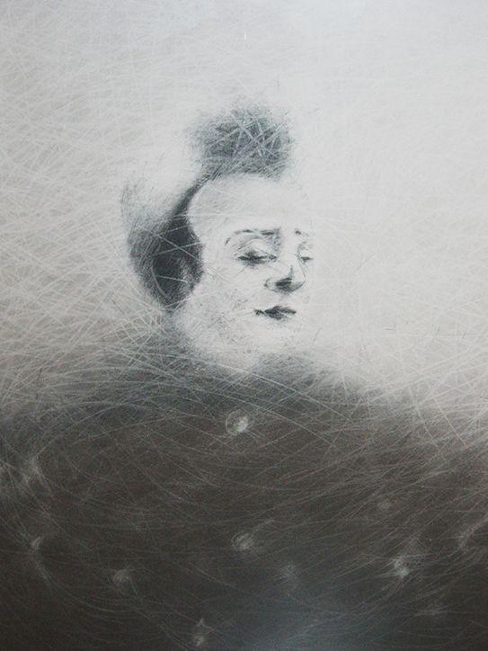 The face, Carbon on paper 50x60, Painting, Portrait