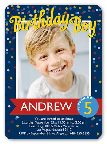 Confetti Boy 5x7 Invitation Card | Birthday Invitations | Shutterfly