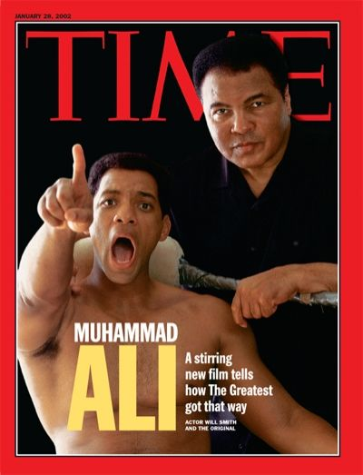 Boxer Muhammad Ali  on  the cover of Time magazine, side by side with the Actor who played him in the movie Ali. Twist on Boxer, side by side and movie.