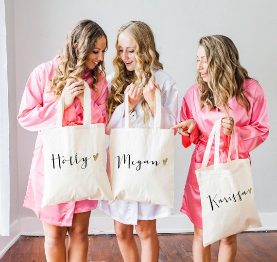 Personalized Bag Gift for Bridesmaids, Name Tote Bags Canvas w/Striped Ribbon Gift for Wedding Bridal Party, Birthday Gift ( Item - BPB300)