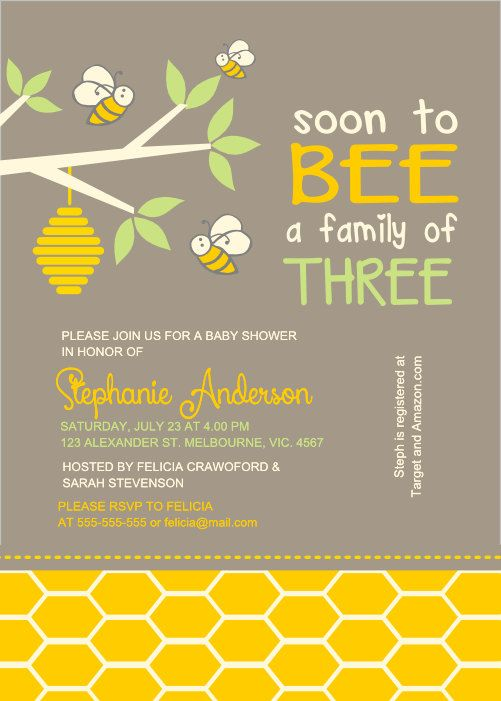 Neutral bee baby shower family three frame  invite - BSI-011 on Etsy, $12.00