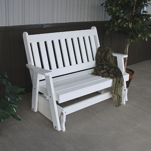 A & L Furniture Traditional English Recycled Plastic 4 ft. Outdoor Glider Loveseat - Outdoor Gliders at Hayneedle