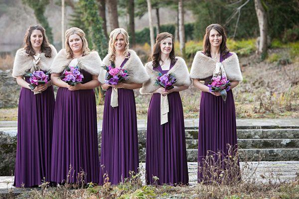Suzanne Neville Wedding Dress, Irish Wedding, wedding in Ireland, Christmas wedding, Winter wedding, Purple wedding, Photography by Paul Kel...