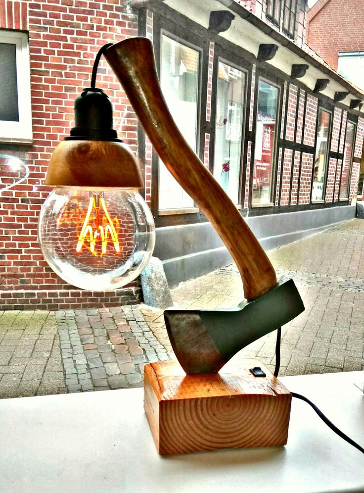 Axe lamp, real old german 800g (1.8lb) axe with completely drilled handle and LE…  # Lamps