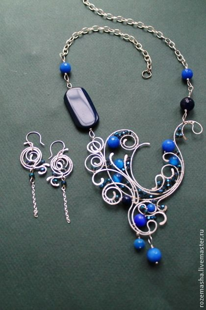 Necklaces, handmade beads.  Necklace Downton Abbey (version in blue).  Studio Mary Rose Time Gems.  Fair Masters.