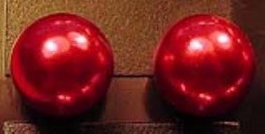 Üveggyöngy fülbevaló gyöngyház-piros 0,8 cm - Betűzős fülbevalók - Fülbevalók - Ékszerek-Hajbavalók - Rea Tex Kézimunka Webáruház