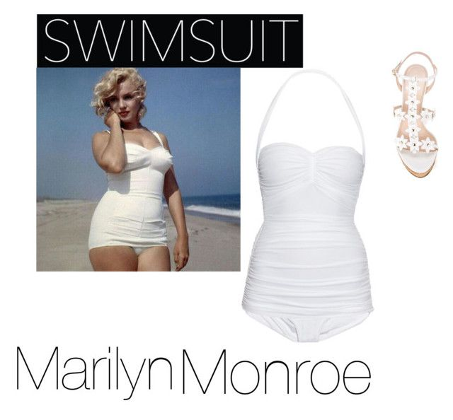 """""""Marilyn Monroe Swimsuit look"""" by emmawitmer ❤ liked on Polyvore featuring Norma Kamali, Oscar de la Renta, GetTheLook and Swimsuits"""