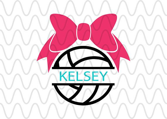 Split Volleyball Bow Monogram Name Svg Cricut Silhouette Etsy Volleyball Bows Svg Custom Creations