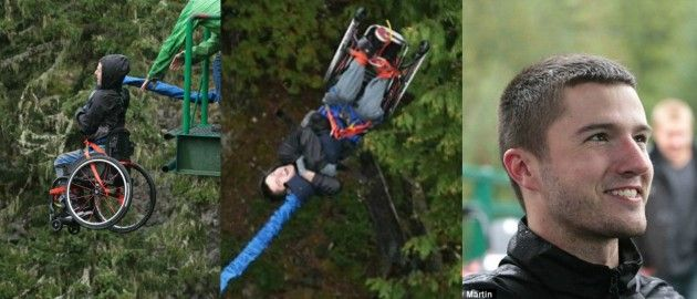 You totally suck compared to this bungee-jumping wheelchair guy - Riley Martin bungee jumped from a bridge in Whistler, British Columbia. The 21 year old Canadian who was paralyzed from the waist down in an auto accident--plays tennis, basketball & rugby, too. He has also won a wheelchair half marathon.