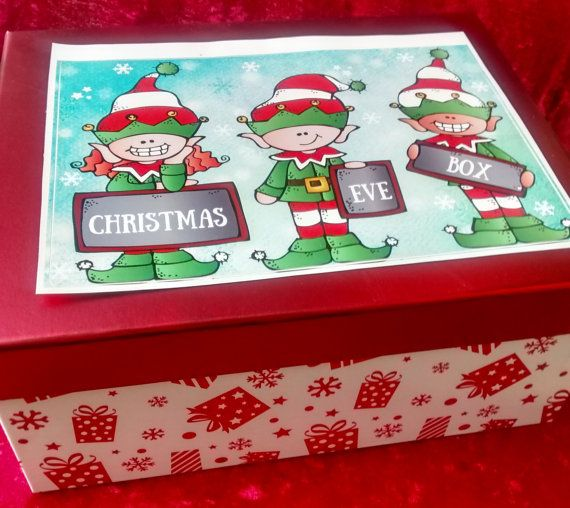 Christmas Eve Box decorated with Christmas Elf by MerryElfmas | Jingle All The Way | Pinterest ...