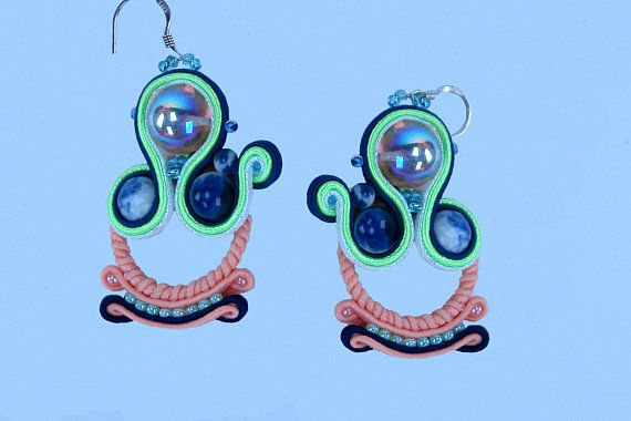 Colorful earrings, gift for mom, gift women, Dangle soutache earrings,   gift for sister, earrings, gift for her, soutache earrings