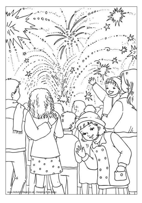Bonfire night colouring page, fireworks colouring page, 14 juillet, feu d'artifice, coloriage
