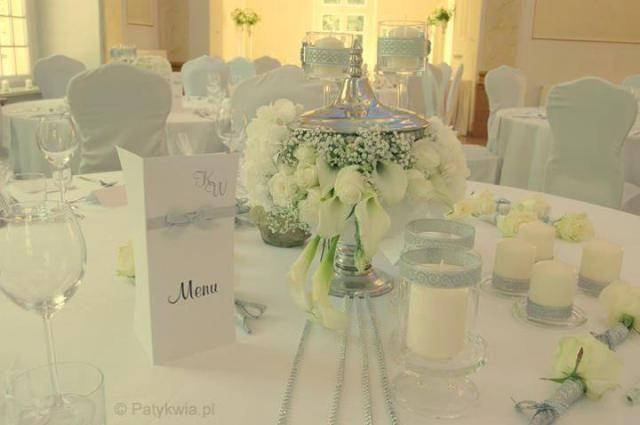 10. Roman Wedding,White silver centerpieces / Rzymskie wesele,Białe Srebrne dekoracje stołów,Anioły Przyjęć