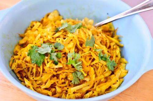 Five-Minute Indian Style Cabbage #recipes #herbivoracious #vegetarian