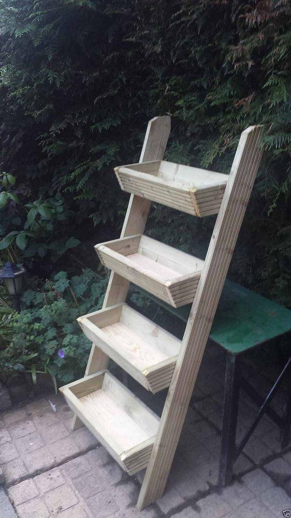 Ladder Planter Decking Wooden Wall Garden Planter Pots Herb Window Plant Box