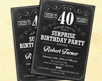 40.o invitación de cumpleaños de cualquier edad / rústico