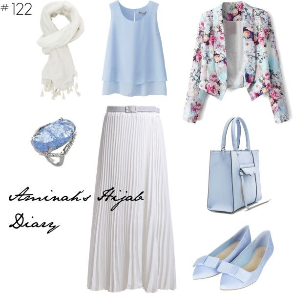 http://aminahshijabdiary.wordpress.com/ #affordable #hijab #muslima #fashion #style #look #outfit #ootd #summer #blue #white #flower