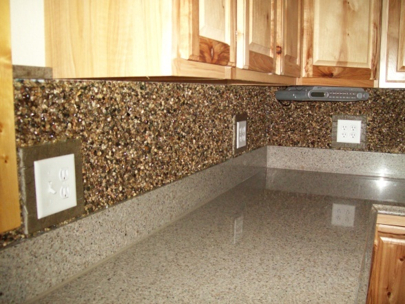 This Backsplash Is Bagged Pea Gravel Glued To Cut Plywood