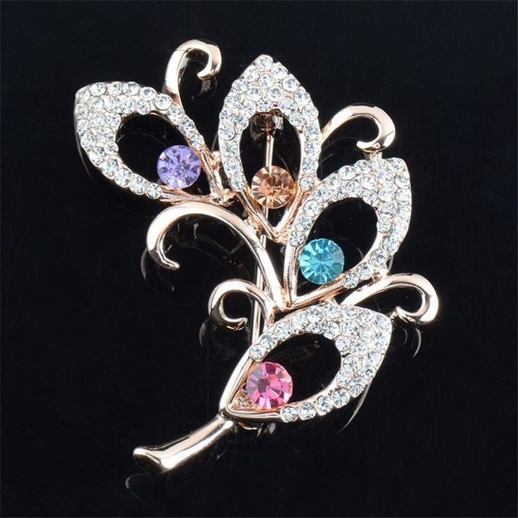 2017 Women Brooch Colorful High-grade Crystal Flower Brooch For Wedding Gift 4 Style Wholesale&Retail