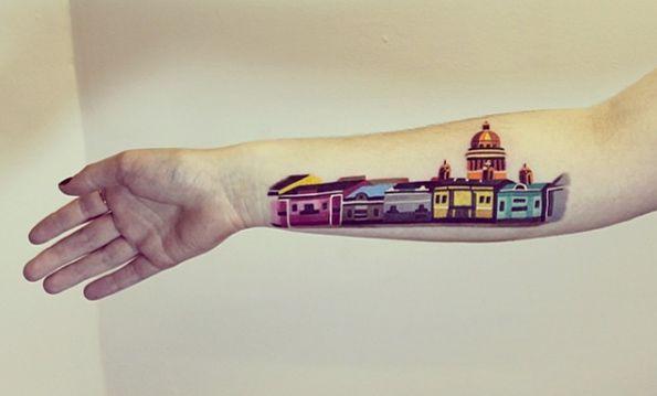 Colorful Architectural Tattoo Design by Sasha Unisex