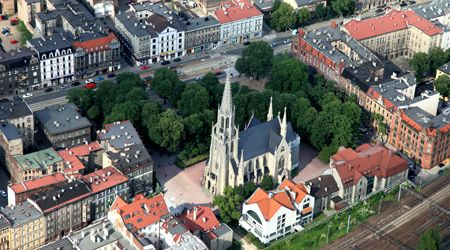 """Aerial view  neo-Gothic church St. Mary's Church """"Kościół Mariacki"""", one of the oldest churches in Katowice, Poland, dating back to 19th century."""