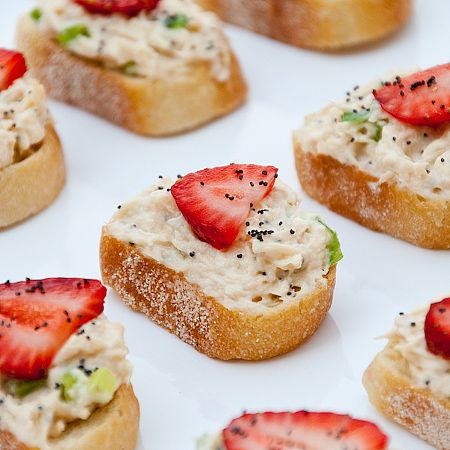 Chicken Salad Crostini With Strawberries via Real Mom Kitchen, yum for bridal shower!