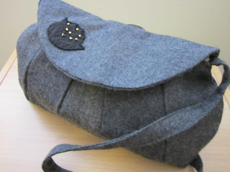 Grey Purse with Flower Decoration