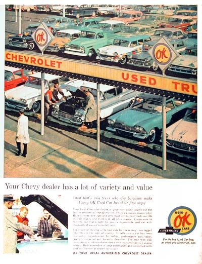 1961 Chevrolet O.K. Used Car Lot original vintage advertisement. The cream of the crop, the best used cars for the money, are tagged O.K.