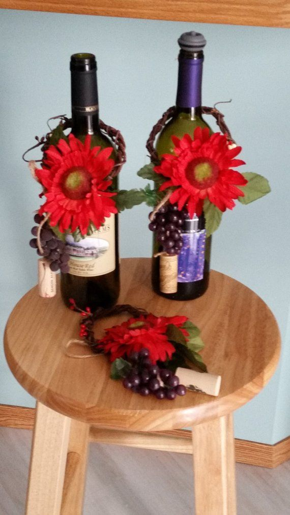 Red Home Decor Wine Bottle Toppers Bar Kitchen Decoration Hostess Gift For Her Centerpiece Wedding Bri Wine Bottle Topper Wine Party Decorations Bottle Toppers