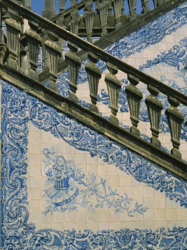 Detail of External Staircase Decorated with Azulejos (Tiles), Algarve, Portugal Photographic Print at AllPosters.com