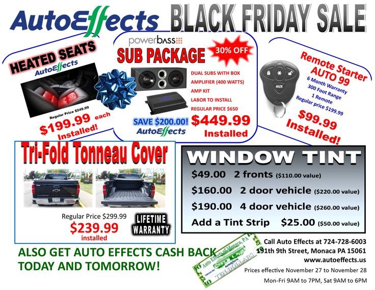 Best Black Friday deals in remote starters, tinting, heated seats, car audio package, tonne
