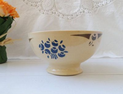 french coffee cafe au lait bowl floral Badonviller demi porcelain from early 20's century. cream color and brown blue decor. from 30s. BADONVILLER : http://etsy.me/1DRp260